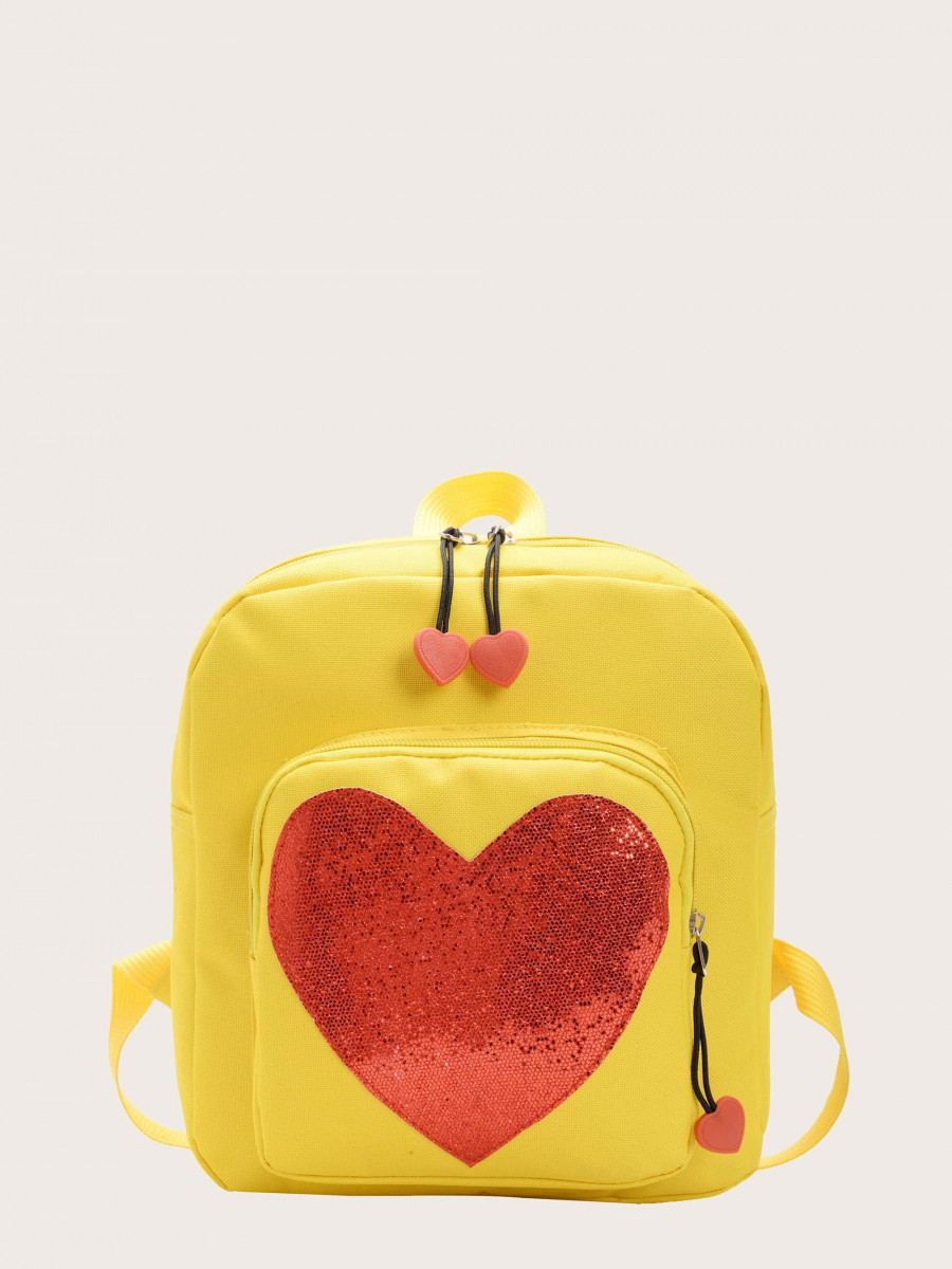 Girls Sequin Heart Pocket Front Backpack