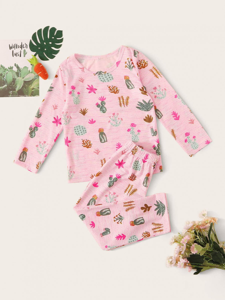 Toddler Girls Plant Print PJ Set