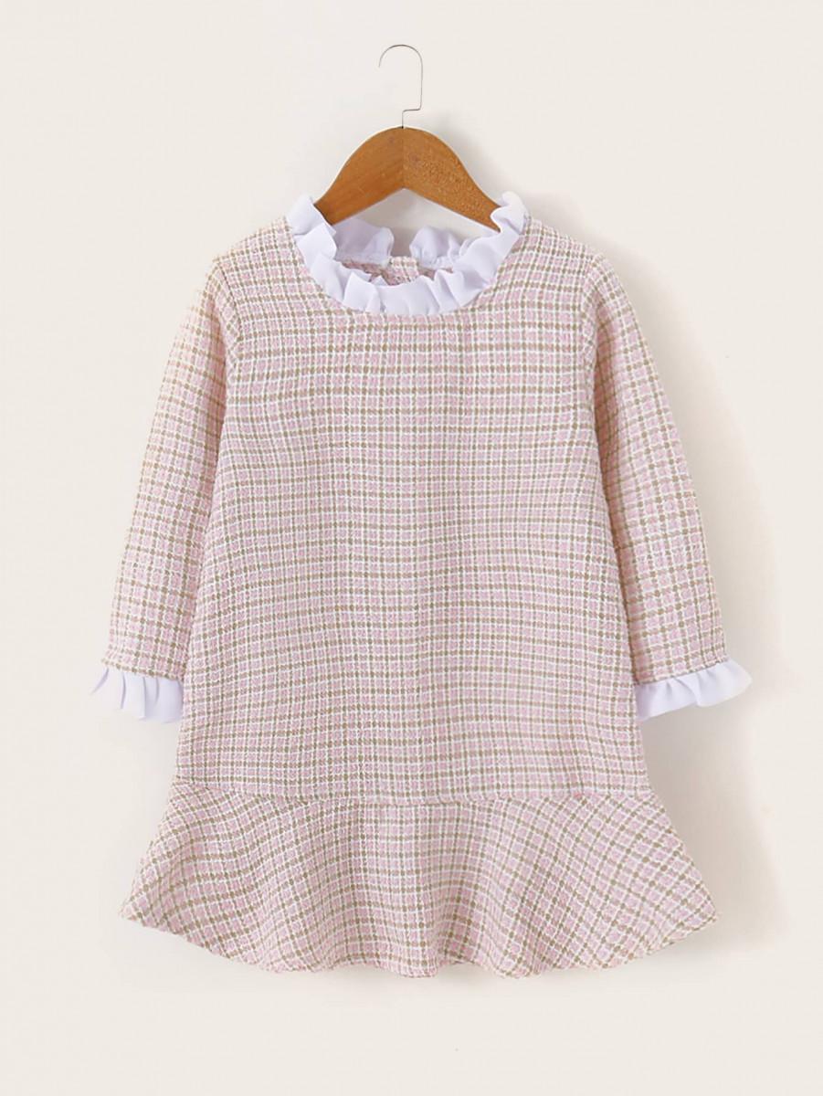 Toddler Girls Tweed Contrast Frill Ruffle Hem Babydoll Dress