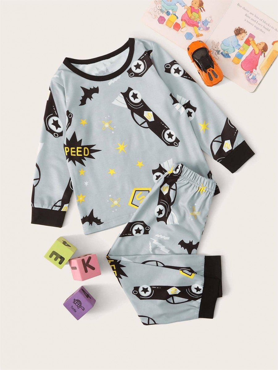 Toddler Boys Car Print PJ Set