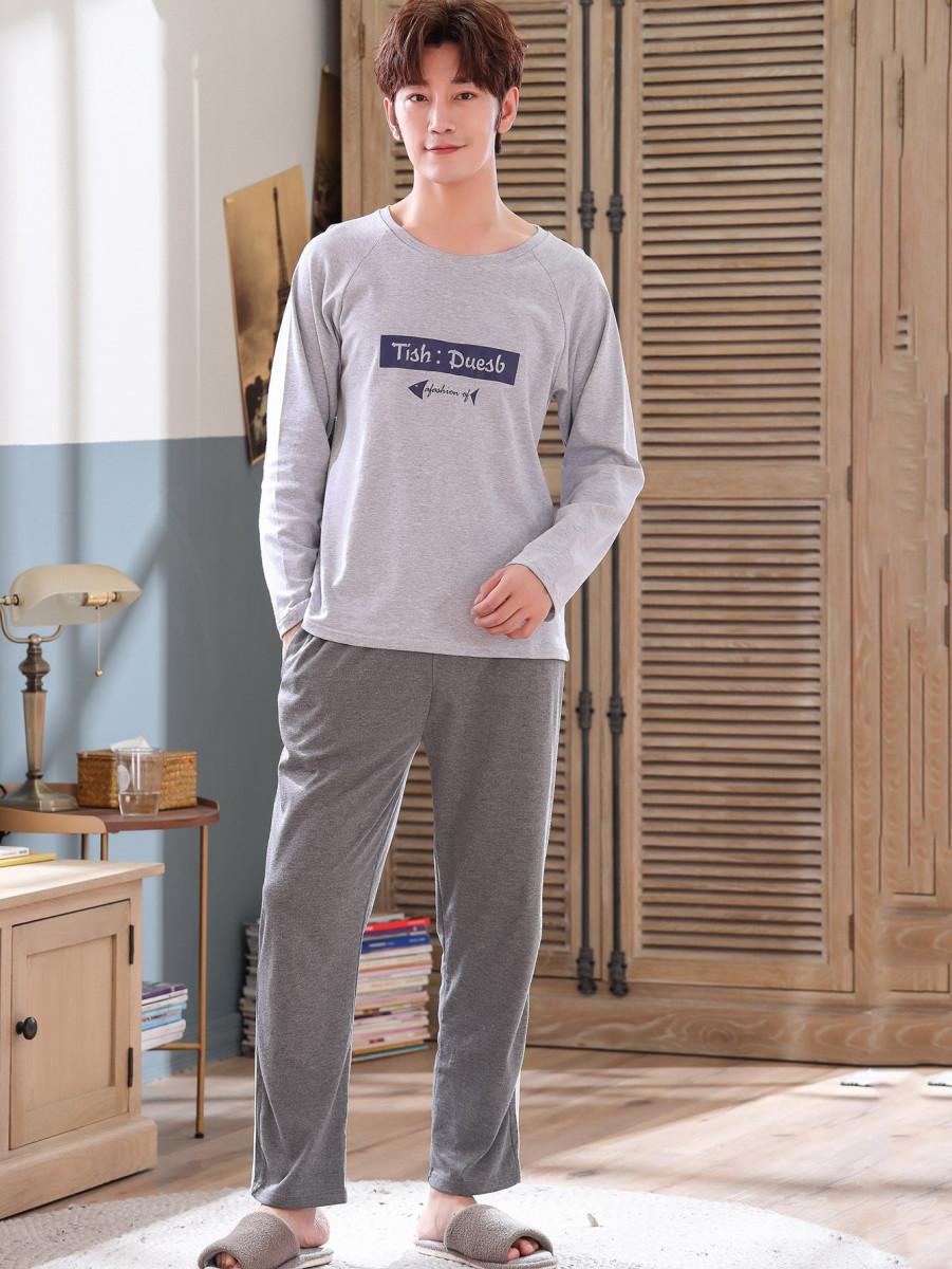 Men Letter Graphic Raglan Sleeve Pajama Set