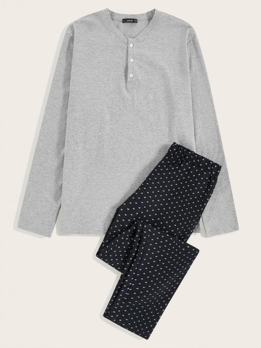 Men Button Front Top & All Over Print Pants PJ Set