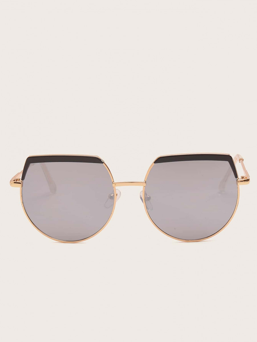 Men Metal Frame Flat Lens Sunglasses