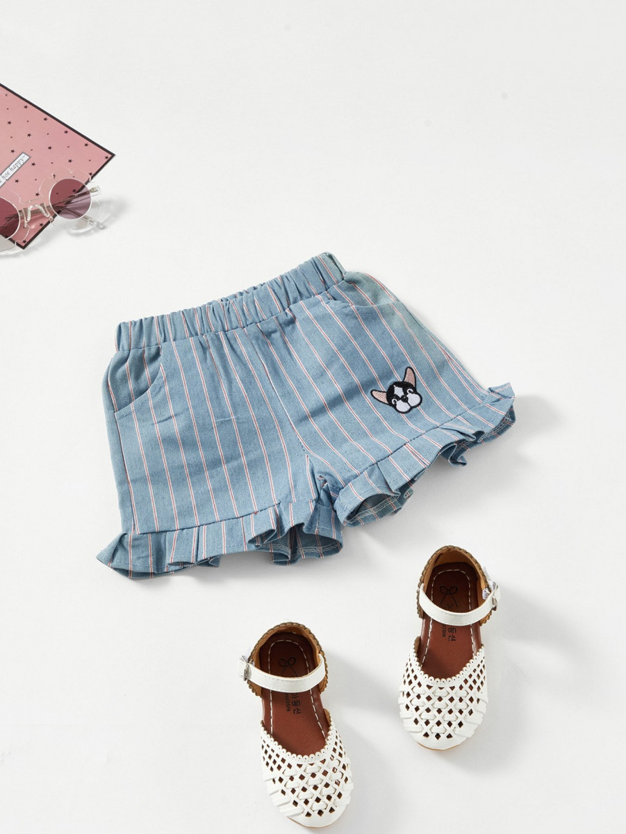 Girls Frill Trim Striped Shorts