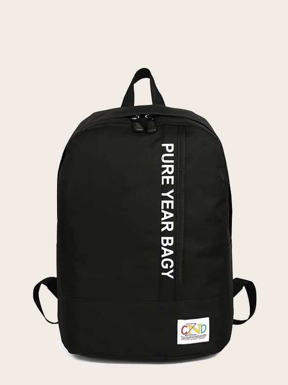 Men Letter Graphic Canvas Backpack