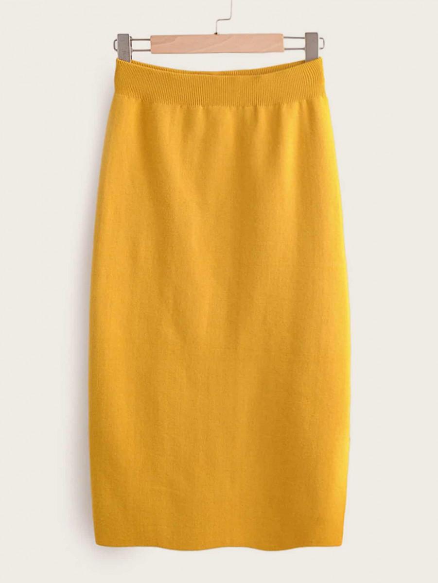 Solid Elastic Waist Pencil Sweater Skirt