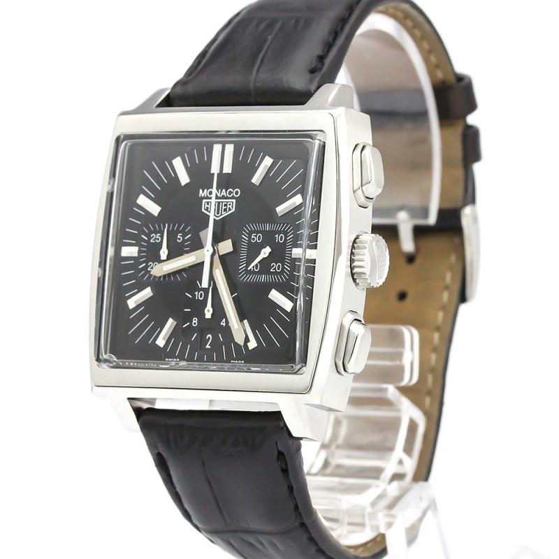 Tag Heuer Black Stainless Steel Monaco Chronograph CS2111 Men's Wristwatch 38 MM