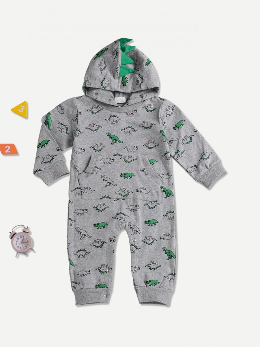 Toddler Boys Dinosaur Print Hooded Jumpsuit
