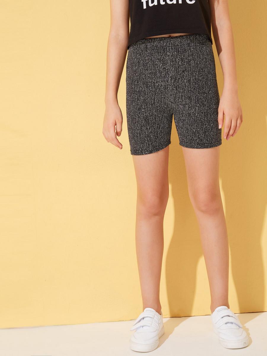 Girls Elastic Waist Glitter Cycling Shorts