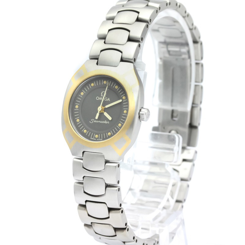 Omega Gray 18K Yellow Gold And Stainless Steel Seamaster Polaris 795.1022 Women's Wristwatch 22 MM