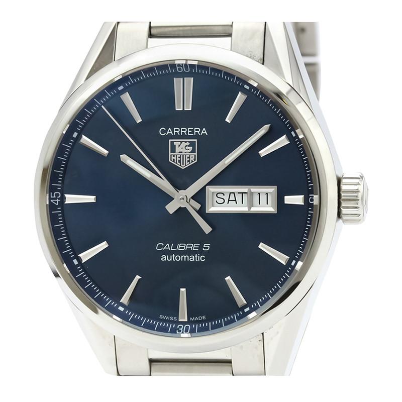 Tag Heuer Blue Stainless Steel Carrera Calibre 5 WAR201E Men's Wristwatch 41MM