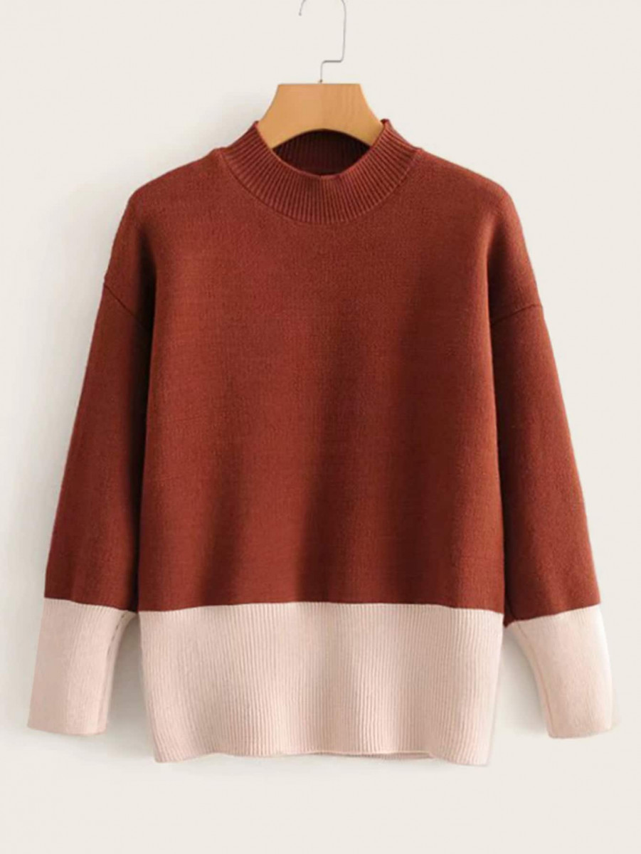 Mock Neck Color-Block Jumper