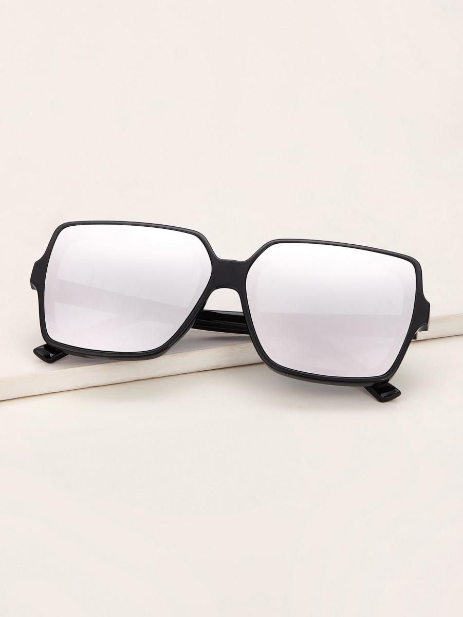 Irregular Frame Mirror Lens Sunglasses