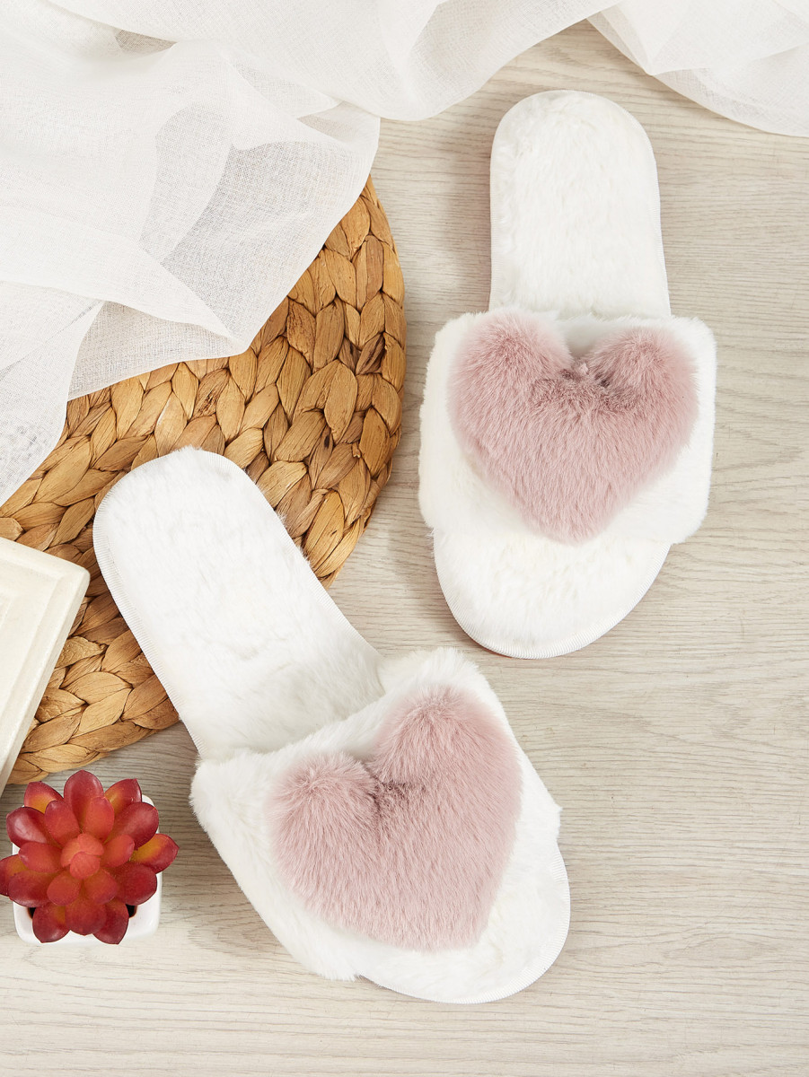 Heart Decor Fluffy Open Toe Slippers