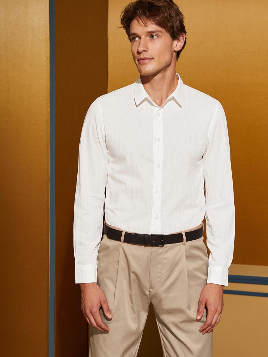 Men Button Up Silver Striped Shirt