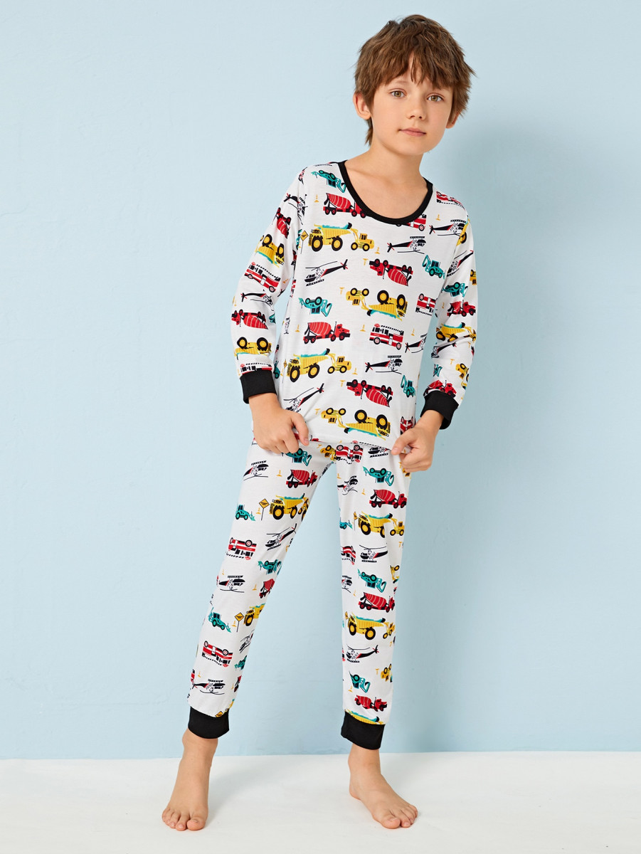 Boys Cartoon Car Print PJ Set