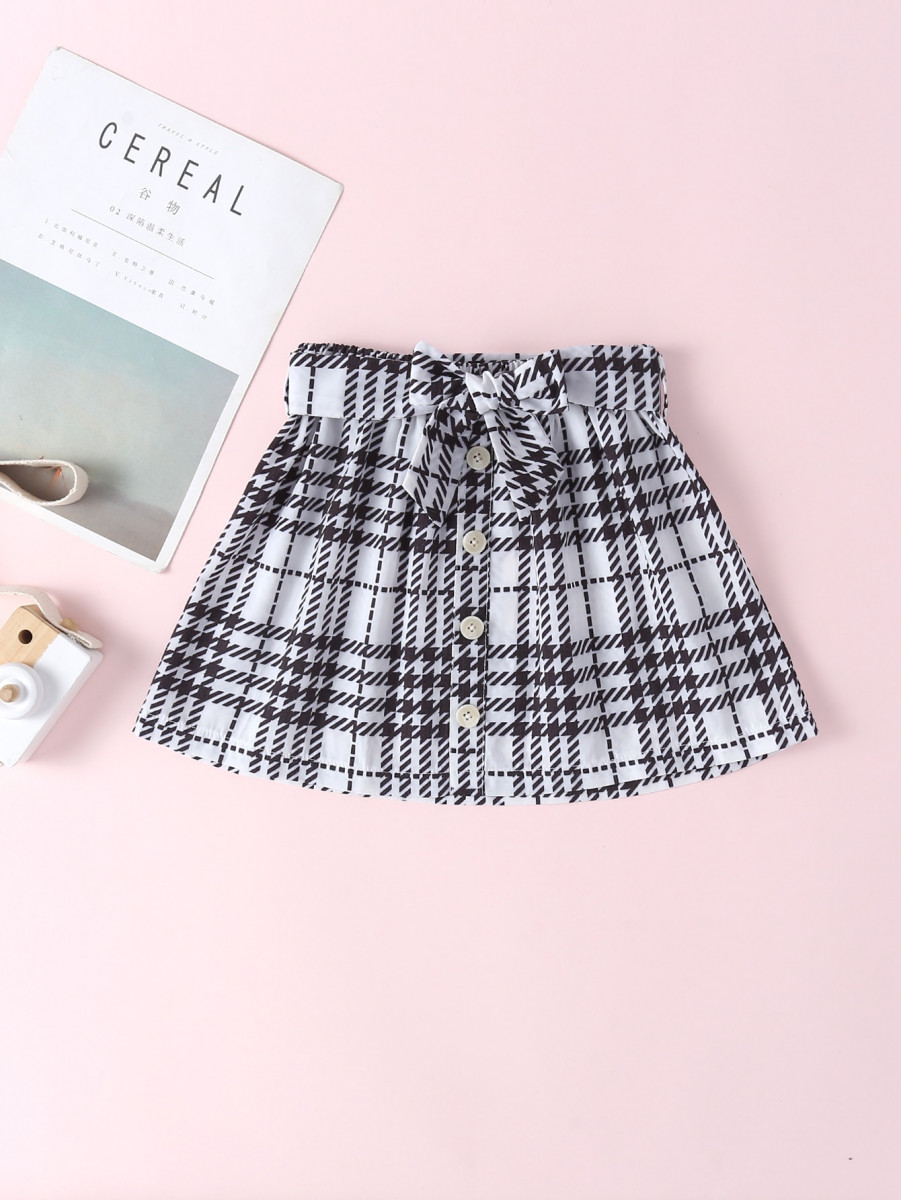 Toddler Girls Houndstooth Button Front Belted Skirt