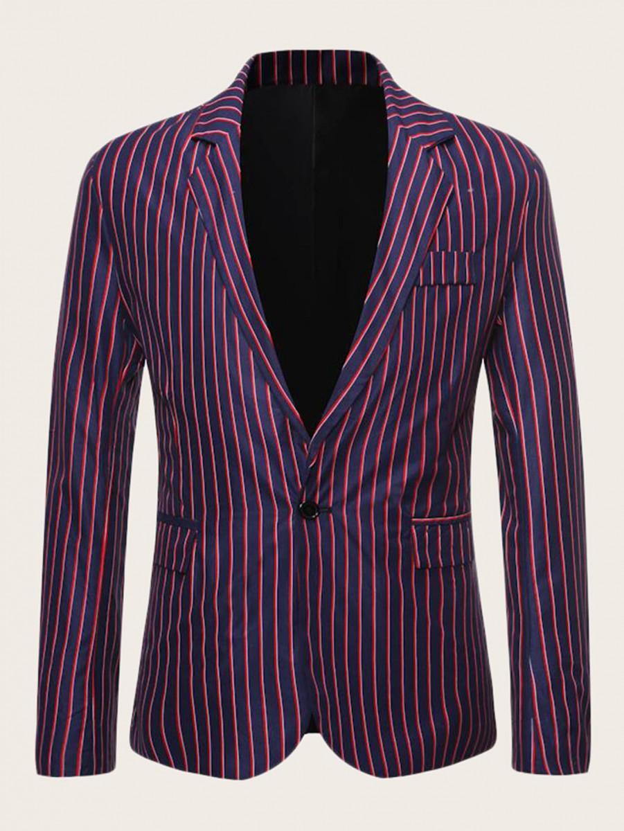 Men Lapel Collar Single Button Vertical-striped Blazer