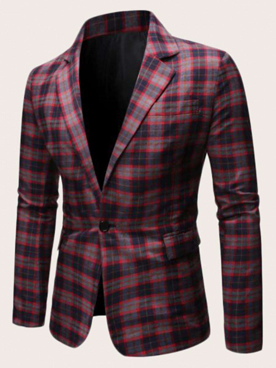 Men Lapel Collar Single Button Random Tartan Blazer