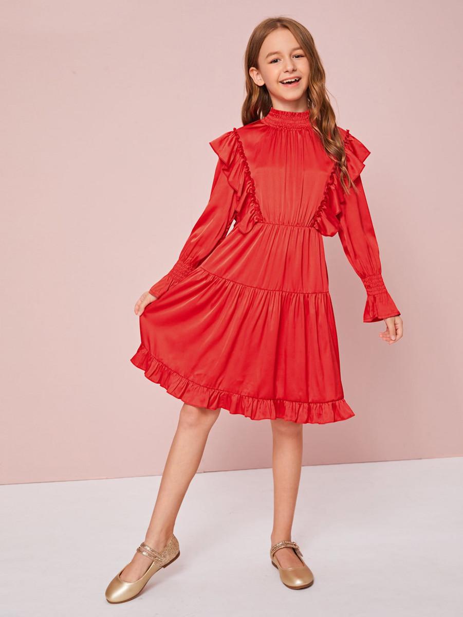 Girls Shirred Neck Ruffle Detail Satin Flare Dress