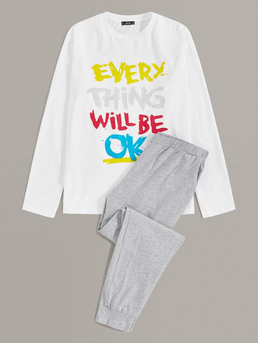 Men Colorful Slogan Graphic Top & Pants PJ Set