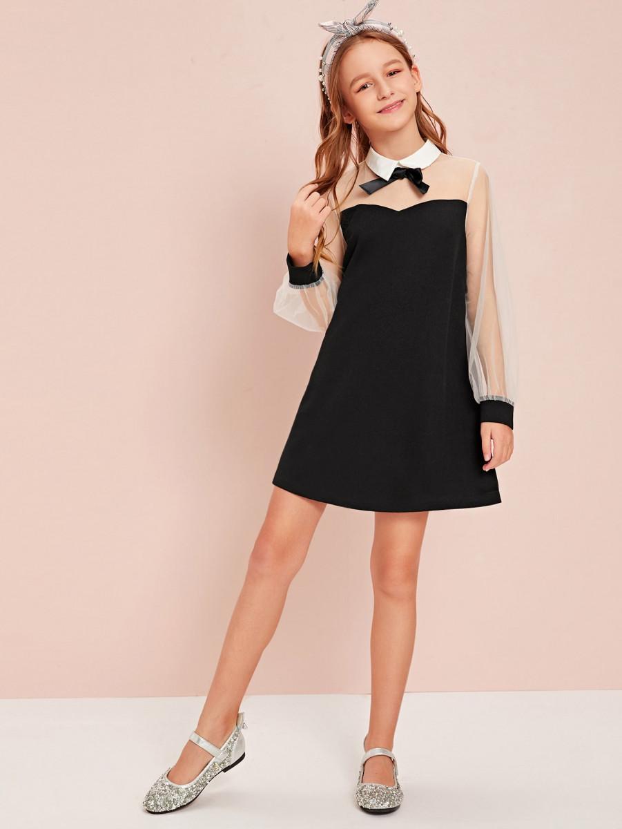 Girls Collared Bow Front Mesh Yoke Dress