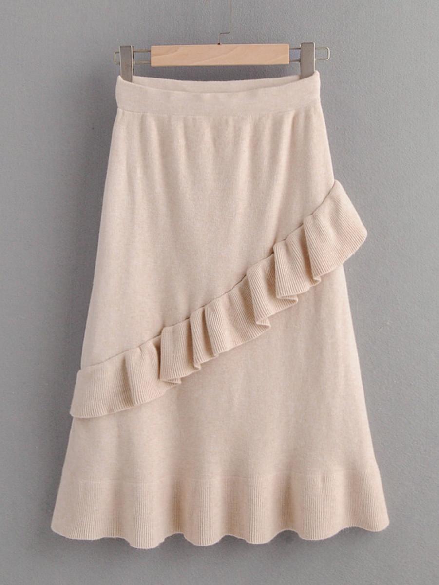 Ruffle Trim Flounce Hem Sweater Skirt