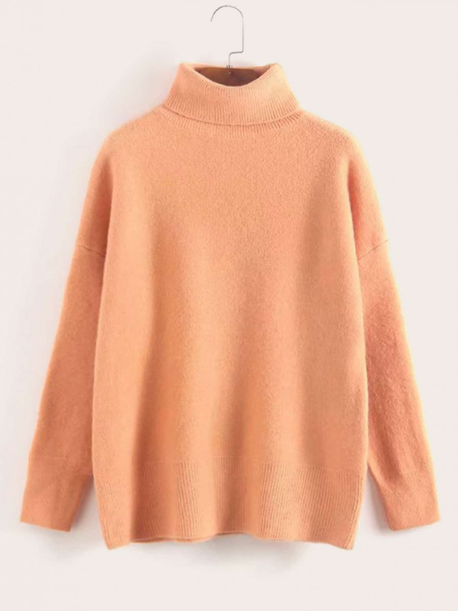 Solid Turtleneck Drop Shoulder Sweater