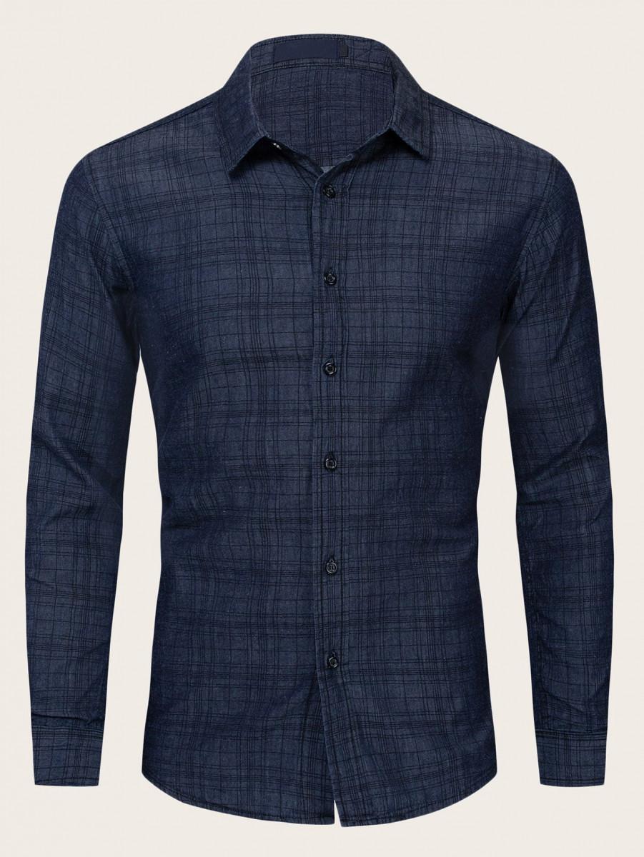 Men Button Through Plaid Denim Shirt
