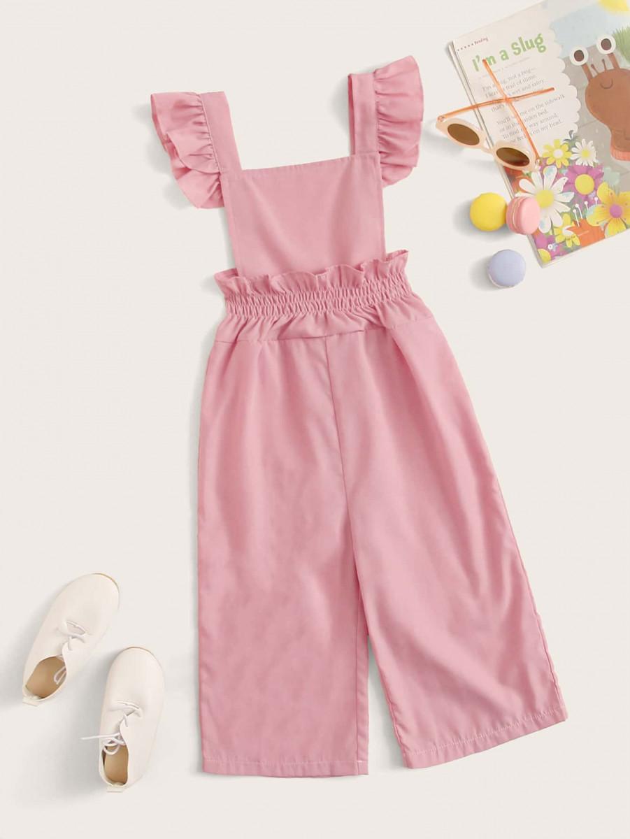 Toddler Girls Ruffle Trim Shirred Waist Overalls